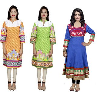 IndiWeaves Women's Combo Pack Offer (Set of 3 Printed Stitched Kurti)