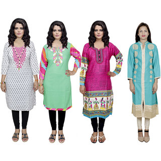 IndiWeaves Women's Combo Pack Offer (Set of 4 Printed Stitched Kurti)