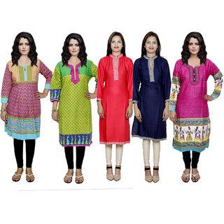 IndiWeaves Women's Combo Pack Offer (Set of 5 Printed Stitched Kurti)