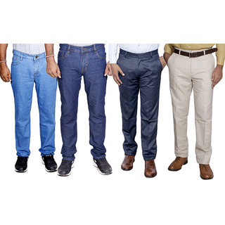 IndiWeaves Combo Pack Offer 2 Slim Fit Denim Jeans With 2 Formal Trouser (Pack of 4)