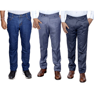 IndiWeaves Combo Pack Offer 1 Slim Fit Denim Jeans With 2 Formal Trouser (Pack of 3)
