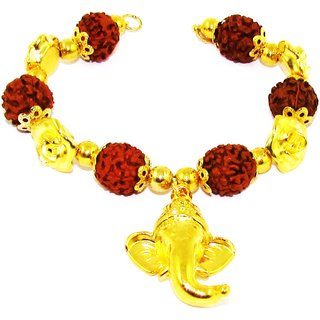 Factorywala Popular Lord Ganesha Rudraksh Beads Bracelet for Men/Boy