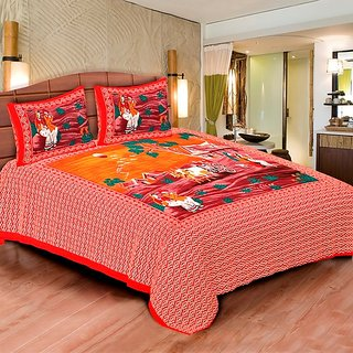 Sunshine Rajasthan Red Cotton Double bedsheet-2001