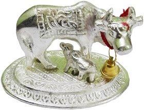 only4you Silver Kamdhenu Cow with Calf Spiritual