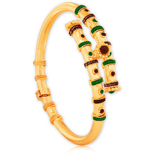Spargz Traditional Antique Brass Gold Plating Studded Openable Kada For Women AISK 119