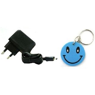 Riviera Micro USB Universal Mobile Charger For LG/Micromax Free Smiley Key Chain