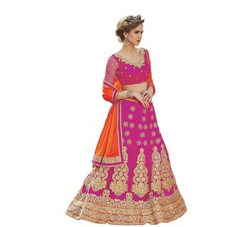Melluha New Designer Pink Color Party Festive Wear Net Lehenga