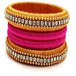 Pure Silk Yellow and Pink Thread Bangle Set