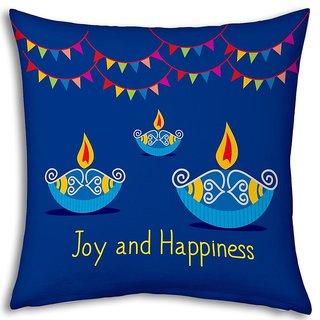 Little India Printed Laxmi Charan Design Cute Filled Cushion 976