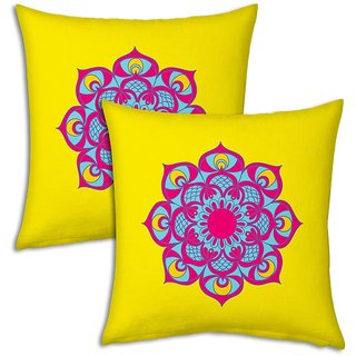 Designer Printed Cute Pink Filled Cushions Pair 9822