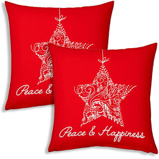 Printed White Star Designer Fancy Red Filled Cushions Pair 9932