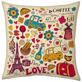Little India Cream Color Designer Romantic Print Filled Cushion 183