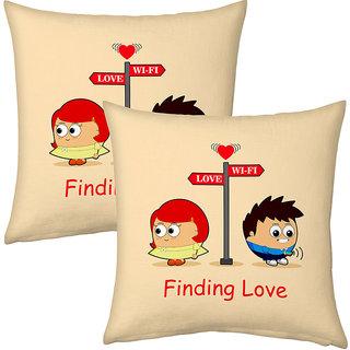 Little India Cream Color Designer Romantic Filled Cushions Pair