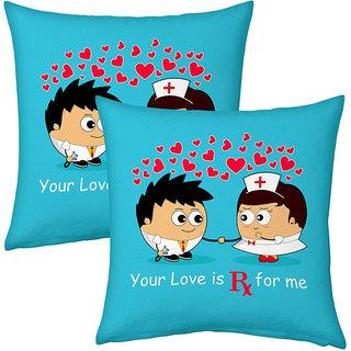 Little India Blue Designer Romantic Printed Cushions Pair