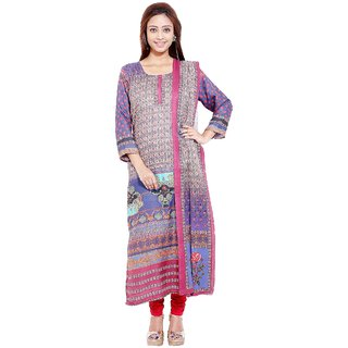 Radhya Well-Formed Multicolour Digital Printed Pashmina Unstitched Kurti With Dupatta