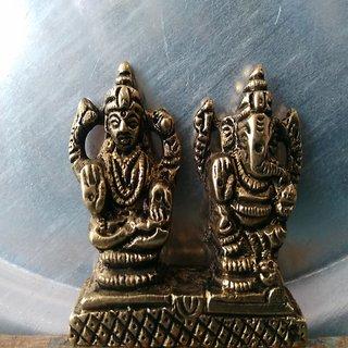 Pure brass Ganesh Laxmi stachu antique Murti