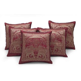 Dual Elephant Design Maroon 5 Pc Cushion Cover Set 509