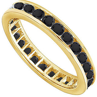 Lovebrightjewelry Black Diamond Eternity Band 14K Yellow Gold-3.00 Ct Diamonds