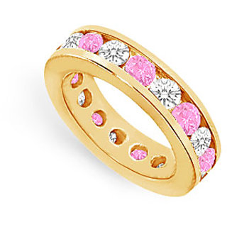 Lovebrightjewelry Pink Sapphire & Diamond Eternity Band 14K Yellow Gold 4.00 Ct