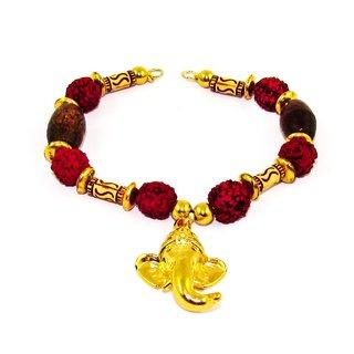 Factorywala Gold Lord Ganesha Lucky Charm Rudraksh Beads Bracelet for Women/Girl