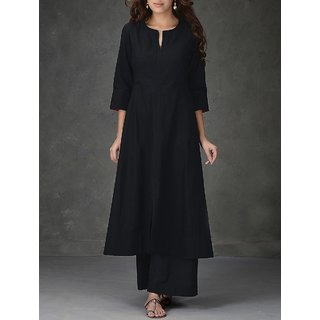 Thankar Black Plain Cotton Dress Mateirial