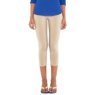 Go Colors Beige Cotton Lycra Solid 3/4th Legging