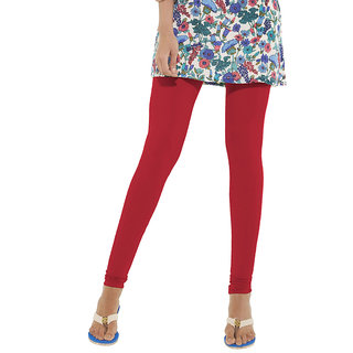 Go Colors Red Cotton Lycra Solid Churidar