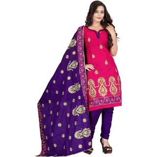 Khushali Presents Multi Embroidered Cotton Chudidar Unstitched Dress Material(Pink,Purple)