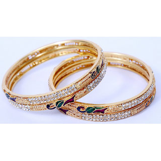 Peacock	Royal Look Traditional Style Gold Plated Pearl Studded  Bangle For Women (Set Of 4)