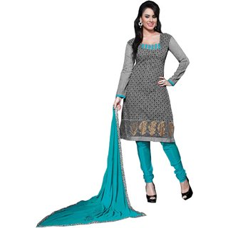 Khushali Chanderi Dress Material (Grey And Sky Blue)
