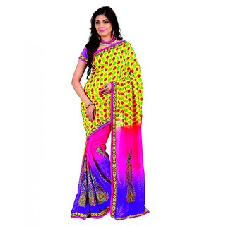 SuratTex Pink Georgette Floral Print Saree With Blouse