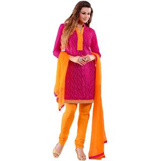 Khushali Presents Patiyala Unstitched Dress Material(Rani)