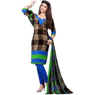 Khushali Presents Chudidar Dress Material(Brown,Multi)