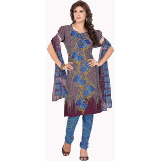 Khushali Presents Printed Crepe Chudidar Unstitched Dress Material(Multi,Blue)