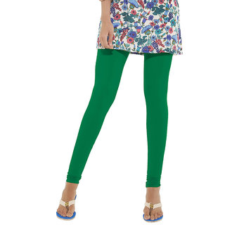 Go Colors Green Cotton Lycra Solid Churidar