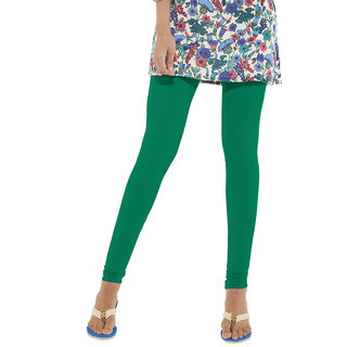 Go Colors Dark Green Cotton Lycra Solid Churidar