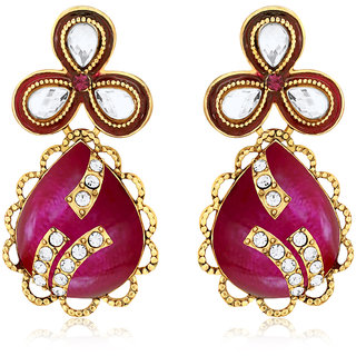 Spargz Bollywood Style Pink Gold Plated Designer Earrings For Women AIER 614