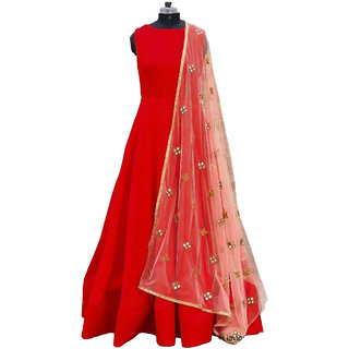 RapidDukan Semi-Stitched Red Color Long Embroidered Anarkali GownSF801