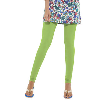 Go Colors Light Green Cotton Lycra Solid Churidar