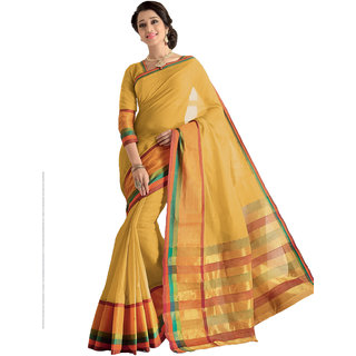 Melluha New Designer Yellow Color Party Festive Wear Cotton Saree With Blouse Piece