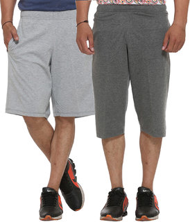 Vimal-Jonney Cotton Blended Multicolor Shorts And Capri Men (Pack Of 2)
