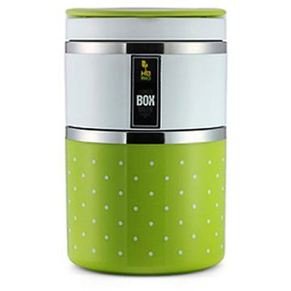 Tuelip Homio Two Layer 900ML Stainless Steel Lunch Box - Green