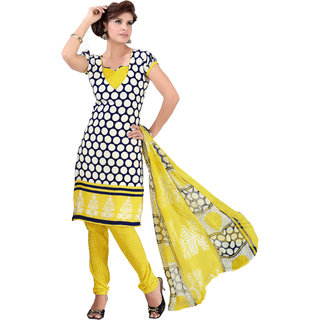 Khushali Presents Printed Crepe Chudidar Unstitched Dress Material(Navy Blue,White,Yellow)