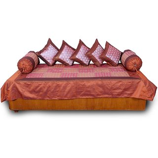 Maroon Raspbery Silk Dewan Cushion Bolster Set 307
