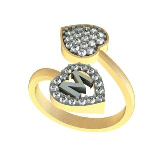 ef54b12d3a2f1 Kanak Jewels Diamond Heart Letter M Designed Ring for Girls Women Gold  Plated Free size for any occasion KJRG112