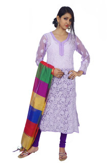 Red Rose Violet Lucknowi Chikan Kurti Faux Georgette Hand Embroidered