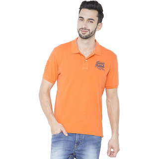 Flying Machine Solid Men's Polo Neck Orange T-Shirt
