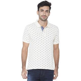 Flying Machine Printed Men's Polo Neck White T-Shirt