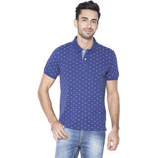Flying Machine Printed Men's Polo Neck Blue T-Shirt