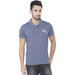 Flying Machine Solid Men's Polo Neck Dark Blue T-Shirt